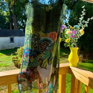 Japanese Design Graphic Silky Print Dress New